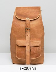 Reclaimed Vintage Inspired Leather Backpack In Tan Tan