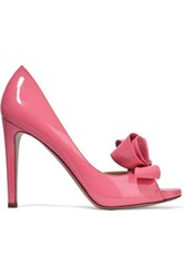 Valentino Bow Detailed Patent Leather Pumps Pink