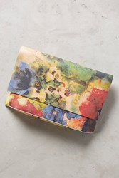 Anthropologie Watercolor Rose Clutch Yellow