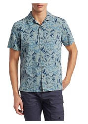 Madison Supply Woven Floral Short Sleeve Cotton Button Down Shirt Grey Green