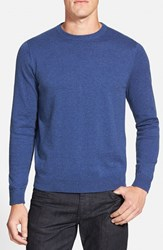 Nordstrom Men's Big And Tall Men's Shop Cotton And Cashmere Crewneck Sweater Blue Dark Heather