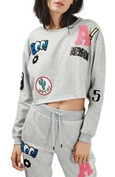 Topshop Petite Women's Badged Crop Sweatshirt