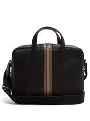 Paul Smith Signature Stripe Leather Briefcase Black