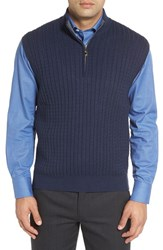 Robert Talbott Men's Cable Knit Quarter Zip Cotton Blend Sweater Vest Brick