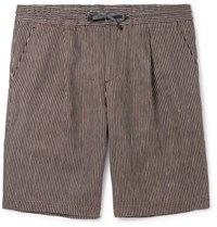 Brunello Cucinelli Pinstriped Pleated Linen Gauze Drawstring Bermuda Shorts Brown