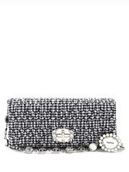 Miu Miu Embellished Gingham Shoulder Bag Black White