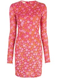 Michael Kors Collection Floral Fitted Dress Pink