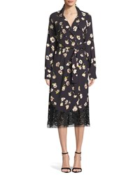 Lela Rose Double Breasted Floral Print Wrap Dress With Lace Hem Black Pattern