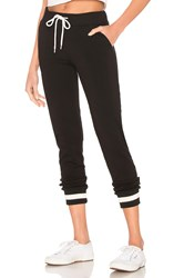 Monrow Sporty Stripe Rib Sweatpant Black
