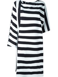 Y 3 Asymmetric Striped T Shirt Dress Black
