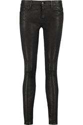 7 For All Mankind The Skinny Low Rise Leather Skinny Jeans Black