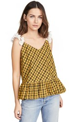 Michaela Buerger Little Gingham Top Yellow