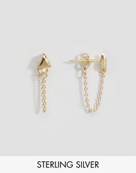 Asos Gold Plated Sterling Silver Triangle Chain Earrings Gold