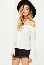 Missguided White Trumpet Sleeve Button Front Bardot Blouse