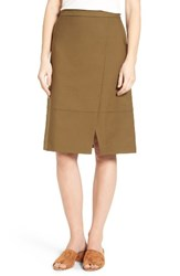 Halogenr Women's Halogen Faux Wrap A Line Skirt Olive Tree