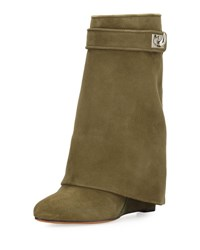 Givenchy Suede Shark Lock Fold Over Boot Beige