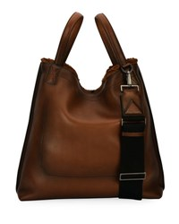 Salvatore Ferragamo Firenze Glow Runway Men's Leather Tote Bag With Goat Hair Trim Brown