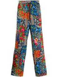 Versace Jeans Couture Floral Print Trousers Black