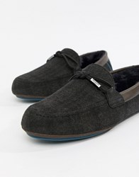Ted Baker Pytre Moccasin Slippers In Check Grey