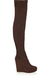 Donna Karan Tribeca Suede Over The Knee Wedge Boots Gray