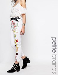 Glamorous Petite Embroidered Girlfriend Jean Multi White