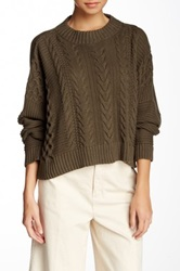 Planet Cropped Cable Sweater Green