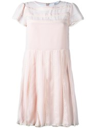 Red Valentino Pleated Chiffon Dress Pink Purple