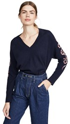 360 Sweater Beatrice Cashmere Navy Dusty Plum Snake