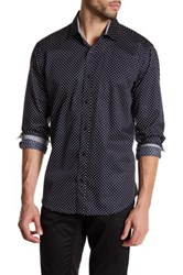 Bristol And Bull Long Sleeve Contrast Trim Polka Dot Classic Fit Sport Shirt Blue