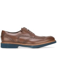Salvatore Ferragamo Perforated Wingtip Derby Shoes Brown