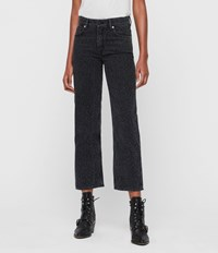 Allsaints Ava Leopard Straight High Rise Jeans Washed Black