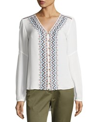 Veronica Beard Dream Long Sleeve Embroidered Silk Blouse Off White