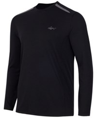 Greg Norman For Tasso Elba Men's Big And Tall Long Sleeve Mesh Inset T Shirt Only At Macy's Deep Black