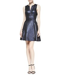 Phoebe Couture Metallic Fit And Flare Cocktail Dress Black