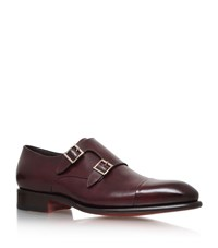 Santoni Carter Leather Double Monk Shoes Male Wine