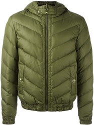 Versus Hooded Quilted Jacket Green