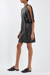 Topshop Batwing Leather Dress By Boutique Black