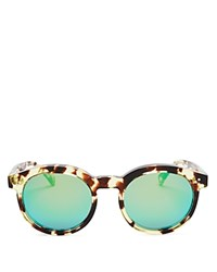 Wildfox Couture Harper Deluxe Mirrored Sunglasses 54Mm Amber Tort Green Mirror