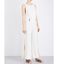 Vix Swimwear Racerback Linen Blend Jumpsuit Off White
