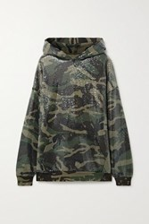 R 13 R13 Sequined Distressed Camouflage Print Cotton And Lyocell Blend Hoodie Green