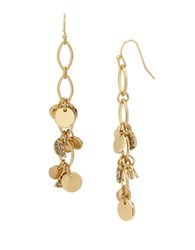 Kenneth Cole Shaky Pave Disc Linear Drop Earrings Gold
