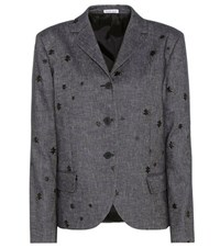 Tomas Maier Embroidered Cotton And Linen Blazer Blue