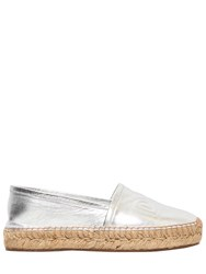 Dolce And Gabbana 30Mm Metallic Leather Espadrilles Silver