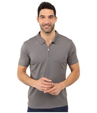 Perry Ellis Solid Polo With Zipper Closure Castlerock Men's Short Sleeve Knit Gray