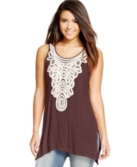 Eyeshadow Juniors' Sleeveless Crochet Panel Tunic Plum Raisin