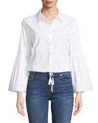 Laundry By Shelli Segal Bell Sleeve Drawstring Hem Button Front Blouse White