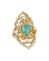 Penny Preville 18K Yellow Gold Emerald And Moonstone Ring With Diamonds