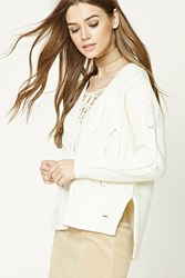 Forever 21 Lace Up Cable Knit Sweater