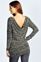 Boohoo Long Sleeve Cowl Back Sequin Top Black