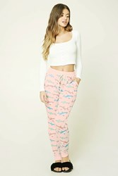Forever 21 Shark Print Pj Pants Light Pink Cream